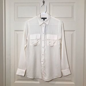 NWT Banana Republic Cream Button Up Utility Shirt